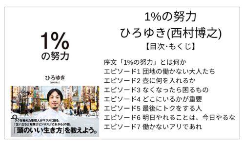 【全目次】1%の努力 / ひろゆき(西村博之) 【要点・もくじ】