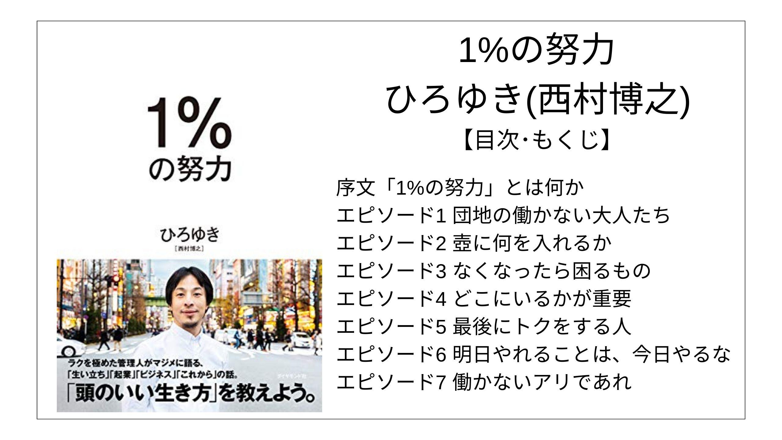 【目次】1%の努力 / ひろゆき(西村博之) 【要点】 モクホン 本の目次を読むサイト
