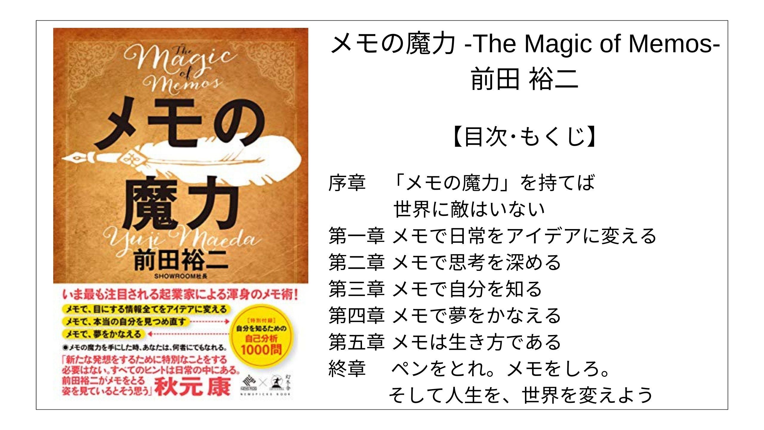【目次】メモの魔力 -The Magic of Memos- / 前田 裕二【要点】 モクホン 本の目次を読むサイト