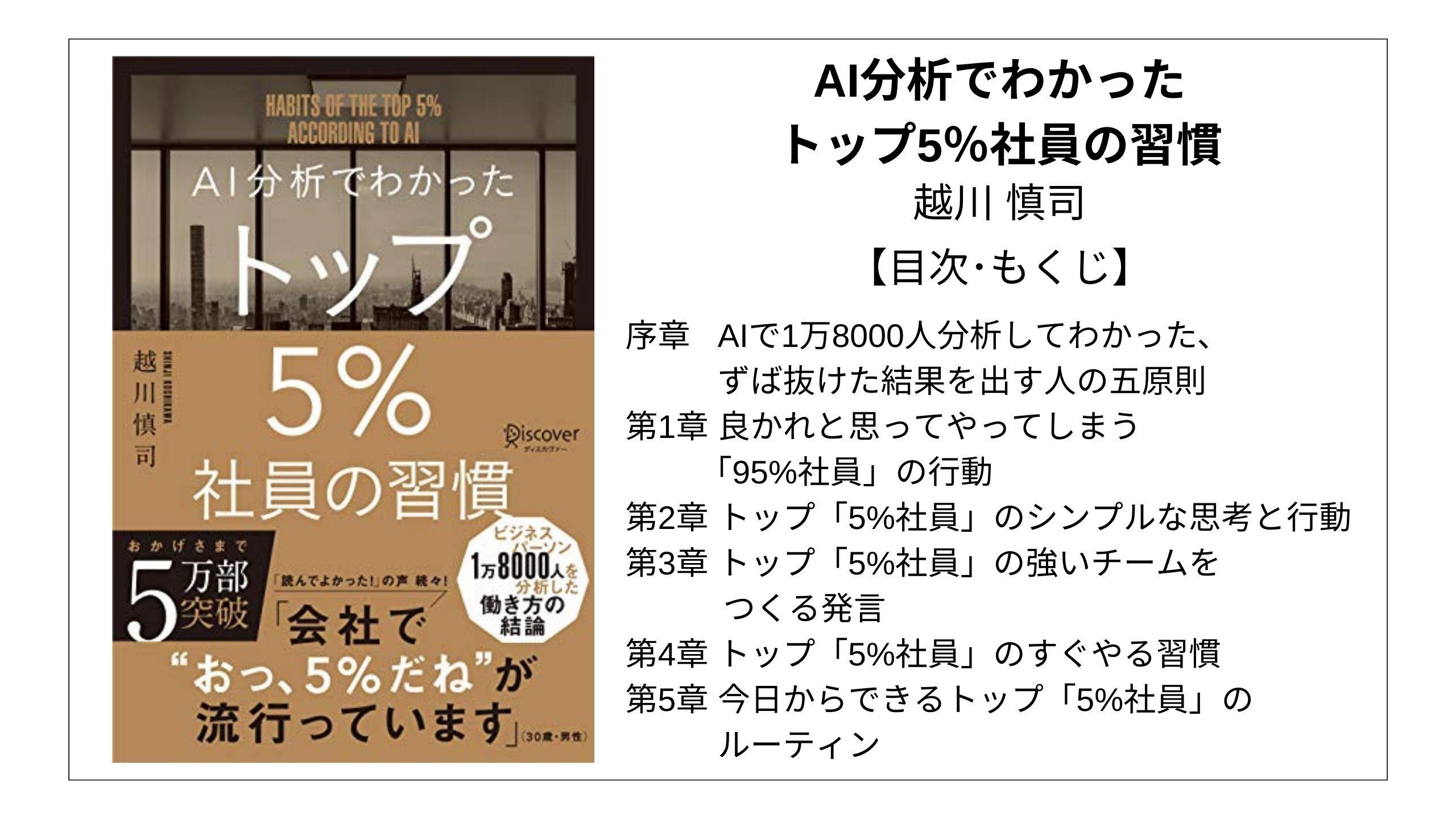 【全目次】AI分析でわかった トップ5%社員の習慣 / 越川 慎司【要点・もくじ】 モクホン 1分で成長するための本の目次を読むサイト